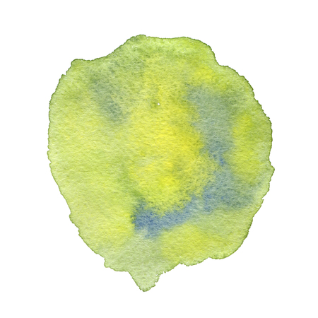 Watercolor spot with green and blue splashes. Hand drawn
