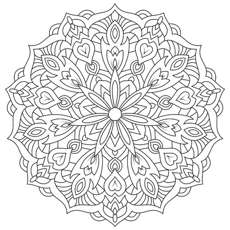 Eastern Ethnische Mandala. Rund Symmetrischen Muster. Färbung ...