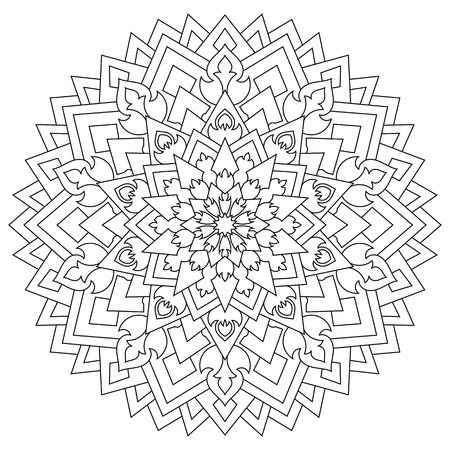 Circular geometric ornament. Round outline Mandala for coloring page Illustration