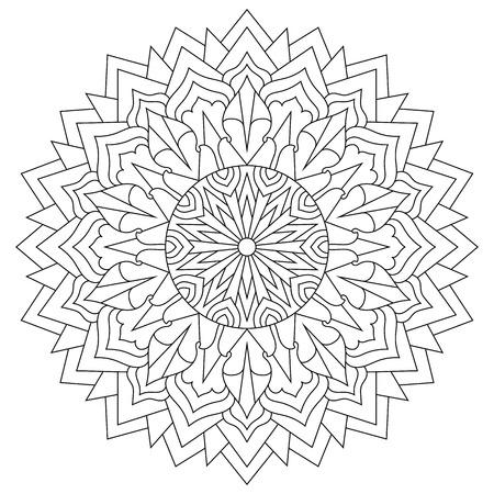Mandala for coloring book, circular ethnic ornament. Round