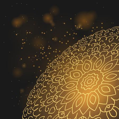 Golden mandala planet in the night