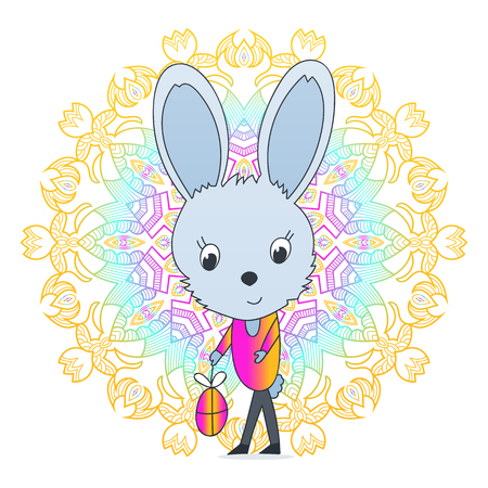 Easter Bunny holding an egg, a happy holiday rabbit with mandala