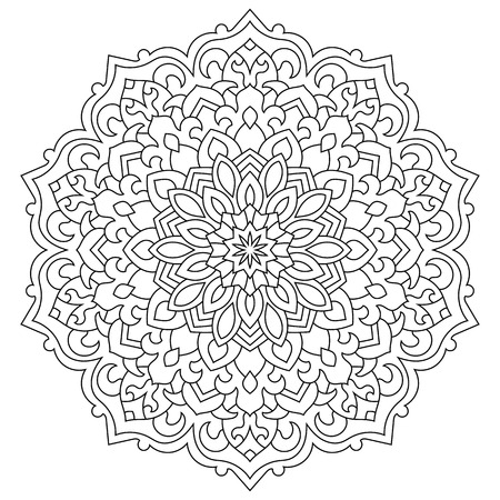 Eastern ethnic mandala. Round symmetrical pattern. Coloring book for adults Standard-Bild