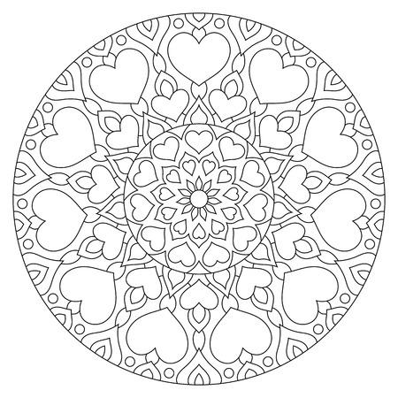 Flower mandala met harten. Kleurplaat voor Valentijnsdag.