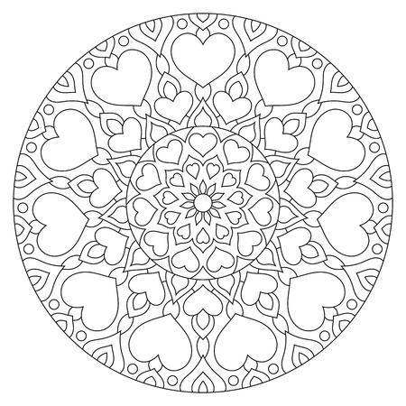 Flower mandala with hearts. Coloring page for Valentines day. Stock fotó
