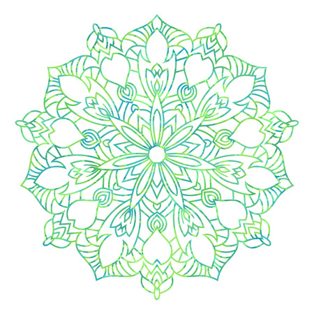 Green mandala ethnic pattern, round symmetrical decoration Standard-Bild