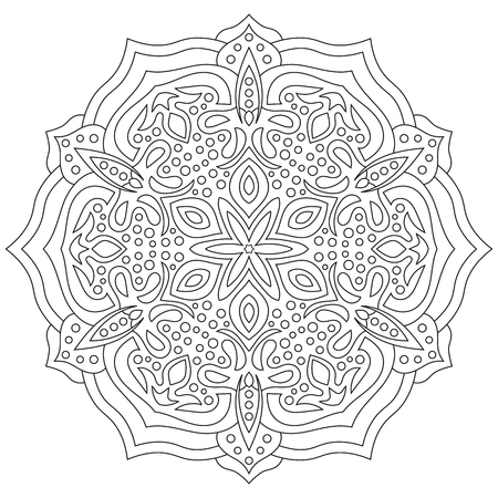 Circular geometric ornament. Round outline Mandala for coloring book page Illustration
