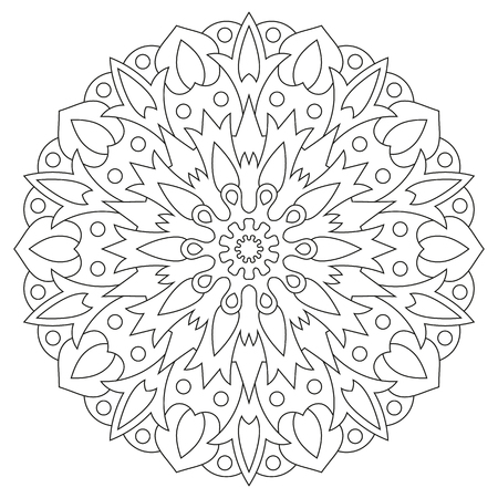 Ethnic element mandala. Circular pattern coloring page for