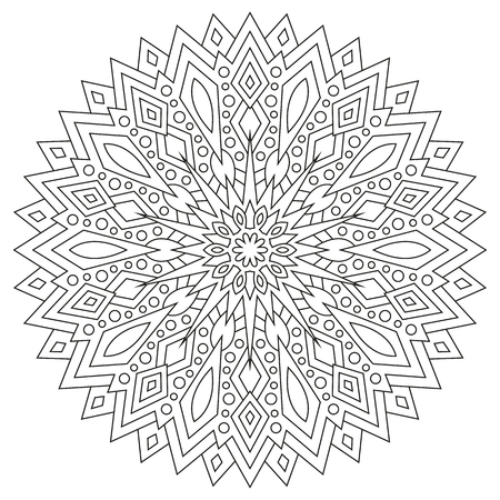 Circular geometric ornament. Round outline Mandala for coloring book page.