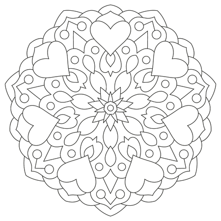 Flower mandala with hearts. Coloring page for Valentines day. Illustration
