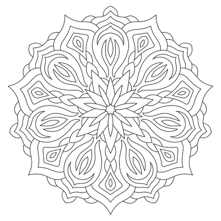 Flower mandala on white background. Coloring book page.
