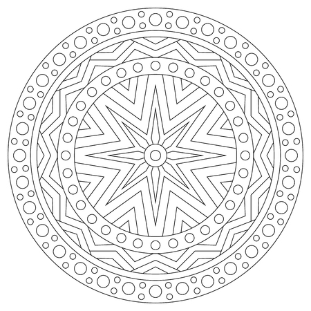Black and white mandala coloring page for adults