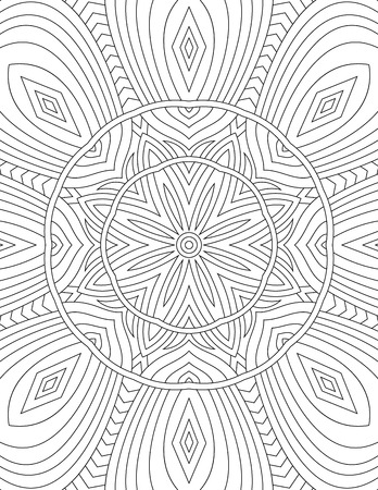 Page coloring book for adults mandala drawn with black lines on Illustration