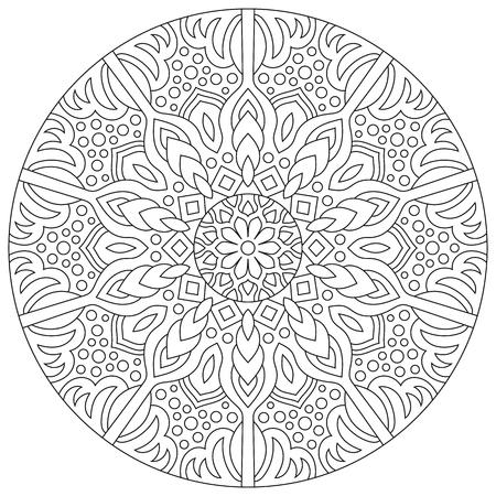 Circular geometric ornament. Round outline Mandala for Illustration