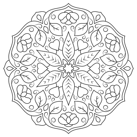 Floral mandala with leaves and hearts on a white background. Illustration