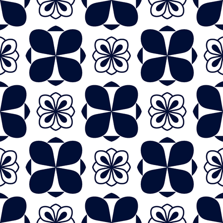 Seamless pattern with geometric blue ornament on white
