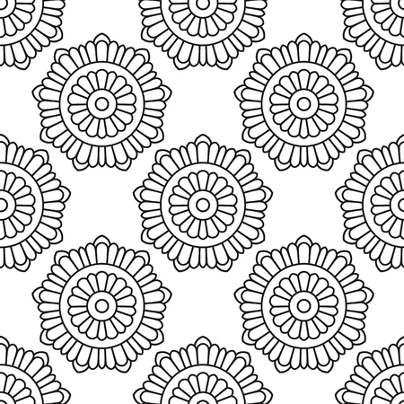 Seamless pattern with abstract floral pattern on white