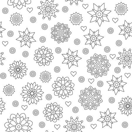 Seamless pattern of circular ornaments mandalas on a white