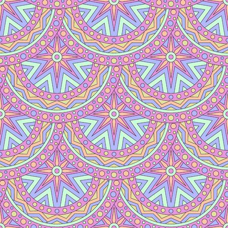 Seamless pattern with colored mandalas. Brazilian, Indian, Turkish