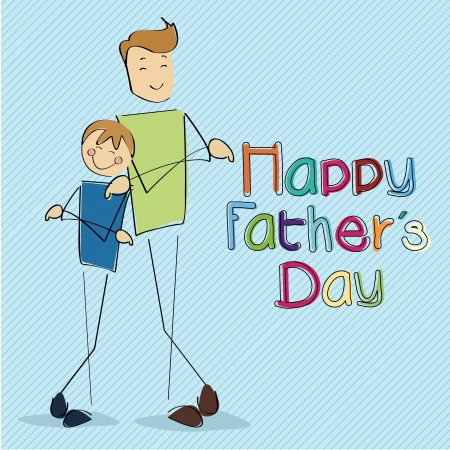 Happy Fathers day card on light blue background  Vector