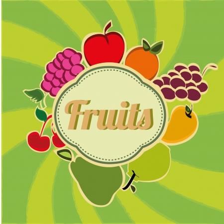 yello: fruits icon on green background Illustration