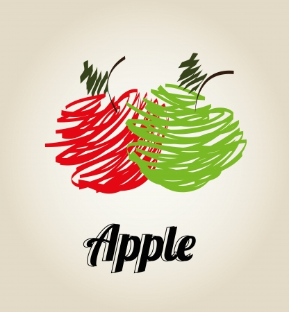 green and red apples with effects Vector