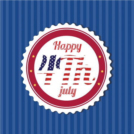 icon of happy 4th july on blue background Stock Vector - 20495932