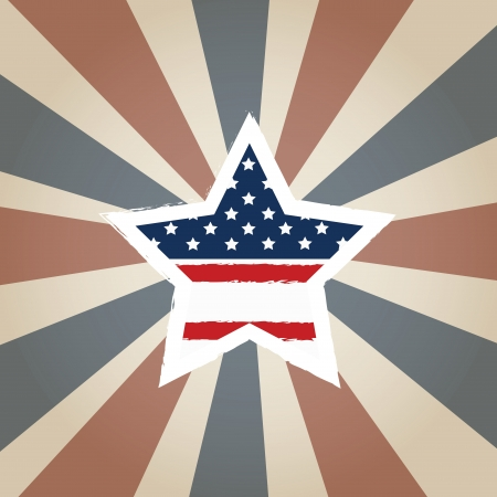 old star with american flag Vector