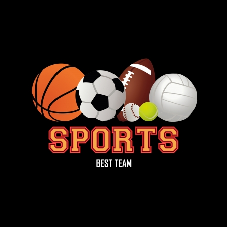 teammate: balls of sport icons on black background