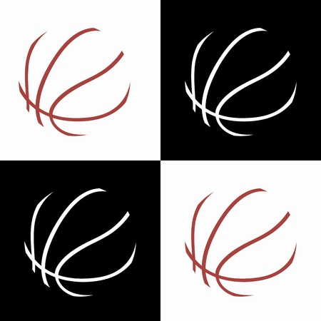 basketball ball abstract icons on white or black background