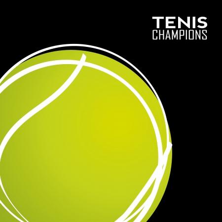raquet: tennis abstract ball on black background Illustration