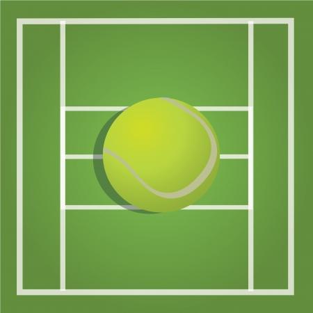raquet: tennis ball on green ground background