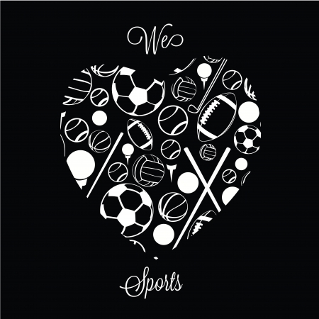 abstract sport heart on black background Vector
