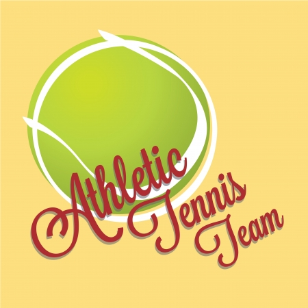 raquet: tennis ball with text on yellow background Illustration