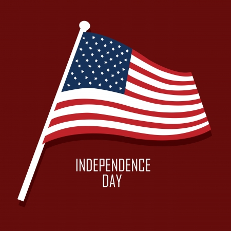 USA flag with independence day text on red background Vector