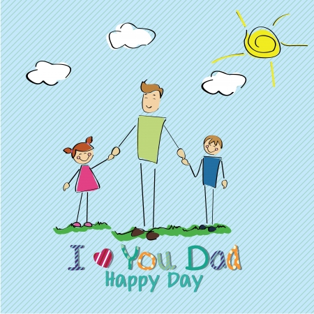 allusive: Family card allusive to Fathers day on blue special background Illustration