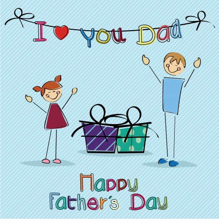 Celebration Fathers Day card on light blue background  Vector