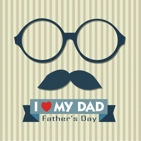 Abstract face and I love my dad text on special background Vector