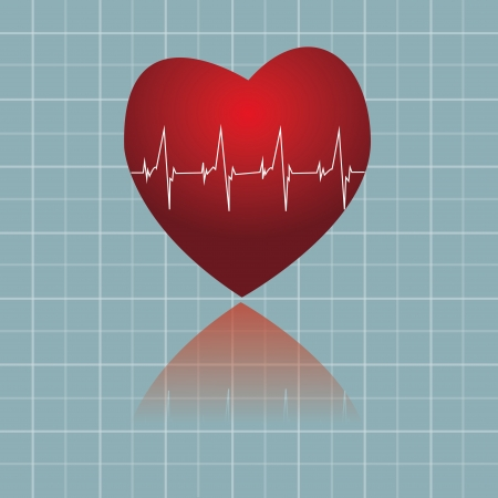 vitals: heart with abstract image of vitals signs Illustration