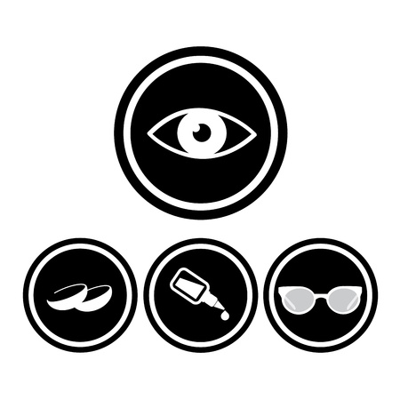 medical eyes icons in black circles Vector