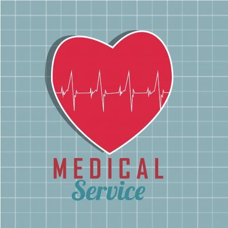 signos vitales: coraz�n rojo con signos vitales abstracciones sobre fondo azul Vectores