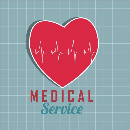 vital: red heart with abstrac vital signs on blue background Illustration