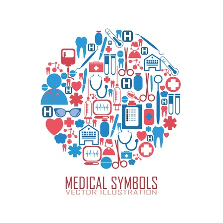 urgent care: abstract circle with medical icons on it
