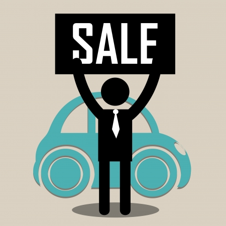 sell car: seller with sale cartel trying to sell a classic car