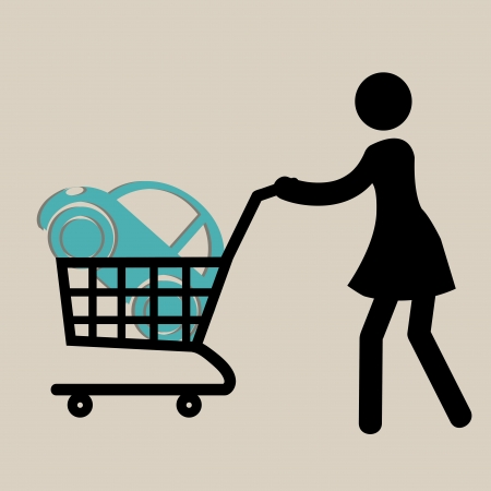 woman with a shopping cart buying a classic car Vector