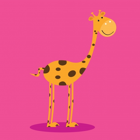 giraffe with shadow on pink background Vector