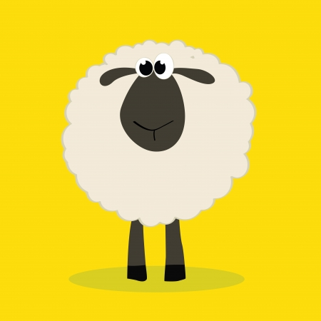 sheep with shadow on yellow background Vector