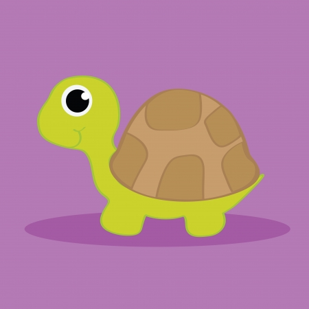 turtle with shadow on purple background Vector