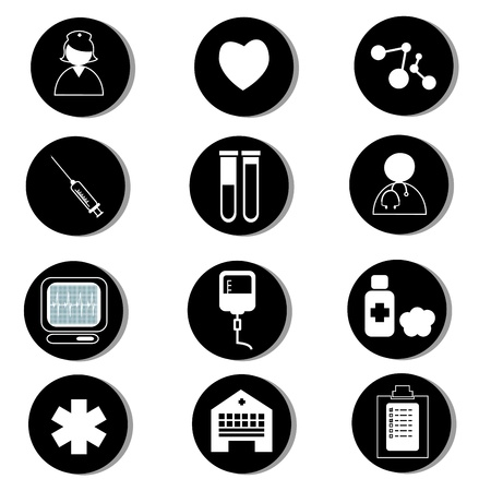 medical icons in black circles on white background Vector