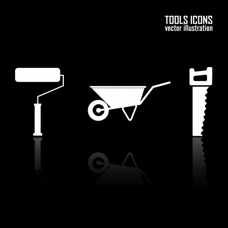 tools icons on black background Vector